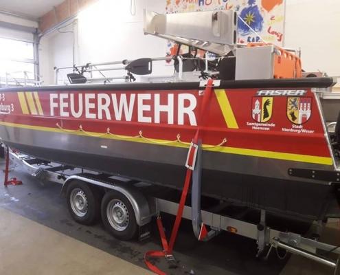 Beschriftung Feuerwehrboot Heemsen