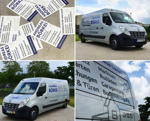 Fahrzeugbeschriftung Visitenkarten Andreas Börkei